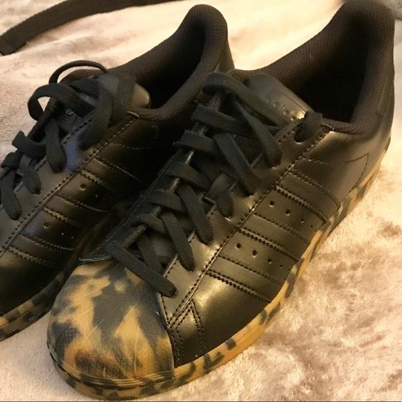 2576e4fafaa Adidas Superstars Black Leopard soles NWT